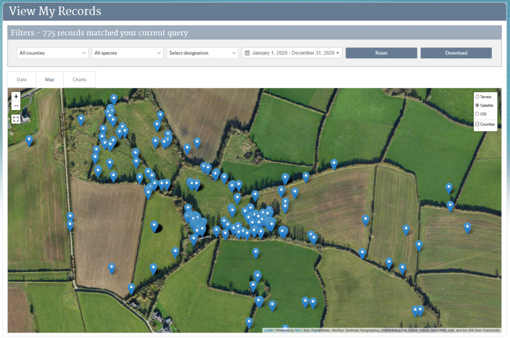 Using the 'View My Records' function I can map all my records on a map or aerial photo.