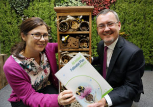 NO REPRO FEE - BUSINESS - 17/11/2016 -Calling all Irish Businesses to Help Save the Bees! -Irish businesses are being called on to take action in helping to save the bees. The National Biodiversity Date Centre and Bord Bia have launched a Framework for Businesses as part of the All-Ireland Pollinator Plan, which identifies actions that companies can take to help protect pollinators and the livelihoods of farmers who rely on their invaluable pollination service. Companies are being urged to sign up at www.biodiversityireland.ie and implement the planÕs business guidelines. The guidelines, launched today, suggest 18 practical actions that any business can take in both indoor and outdoor spaces. Pictured with an insect hotel that provides shelter for insects and is an example one of the practical actions a business can take are Dr. Jane Stout, deputy chair of the All Ireland Pollinator Plan Steering Group and Jim OÕToole, Bord BiaÕs director of sustainable development. Picture Gary O' Neill