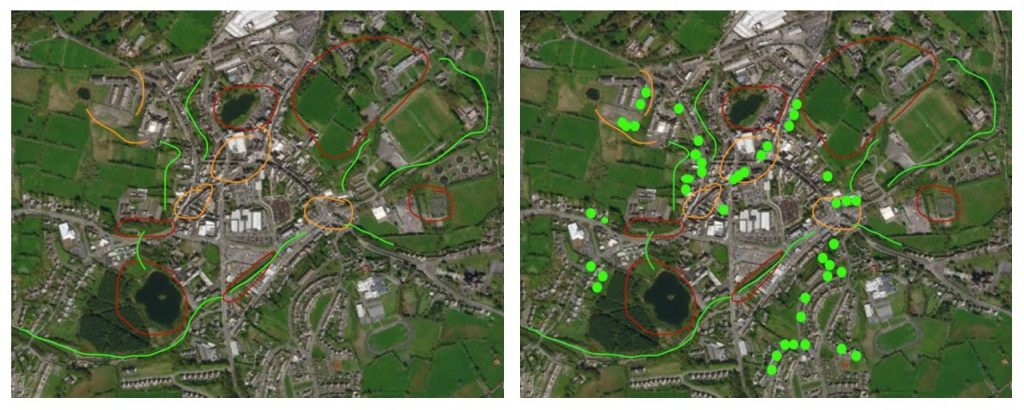 The green dots mark the new fruit trees planted in domestic gardens to help to join up pollinator-friendly habitat in Monaghan town.