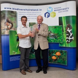 Paul R. Green (left) being presented with the Distinguished Recorder Award by Prof. Liam Downey (Chair (2006-2010) of National Biodiversity Data Centre