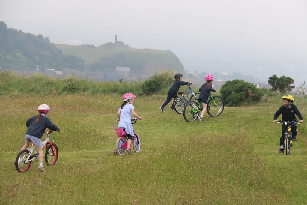 Meadow paths are great for inviting people inwards to use the meadow and for natural play. During planning of meadows for the Glens Great Grassland Trail in Antrim, the local primary school was involved in the layout of the mown paths for BMX cycling tracks.